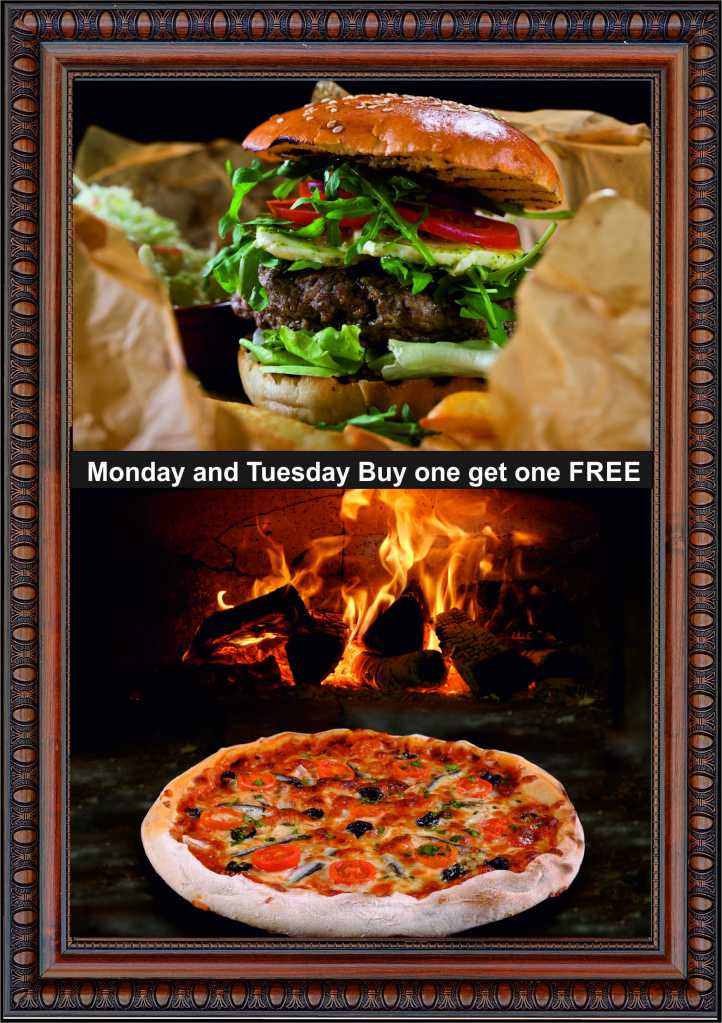 A6 Burger and Pizza buy one get one free